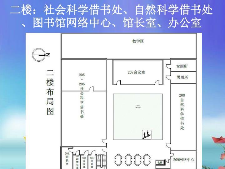 二楼:社会科学借书处、自然科学借书处、图书馆网络中心、馆长室、办公室