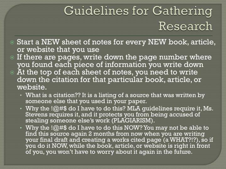 Guidelines for Gathering Research