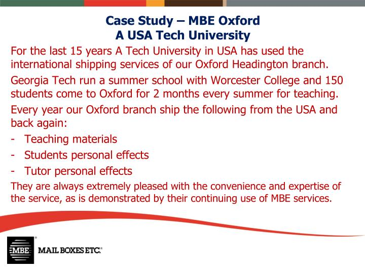 Case Study – MBE Oxford