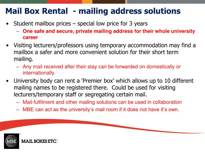 Mail Box Rental  - mailing address solutions