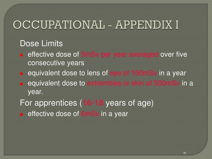 OCCUPATIONAL - APPENDIX I