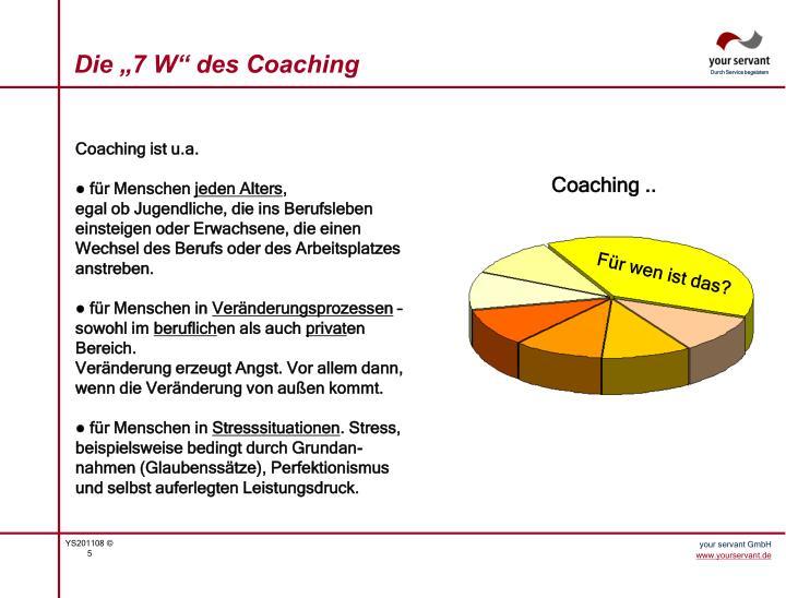 """Die """"7 W"""" des Coaching"""