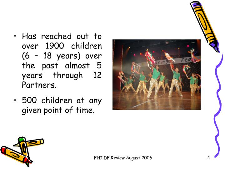 Has reached out to over 1900 children (6 – 18 years) over the past almost 5 years through 12 Partners.
