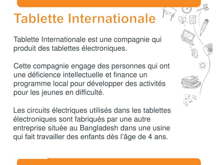 Tablette Internationale