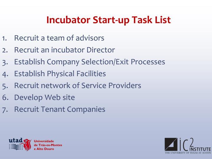 Incubator Start-up Task List