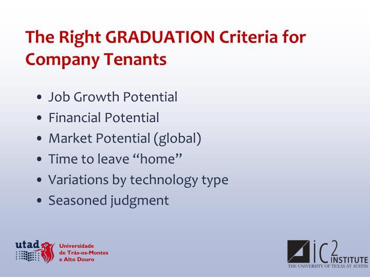 The Right GRADUATION Criteria for Company Tenants