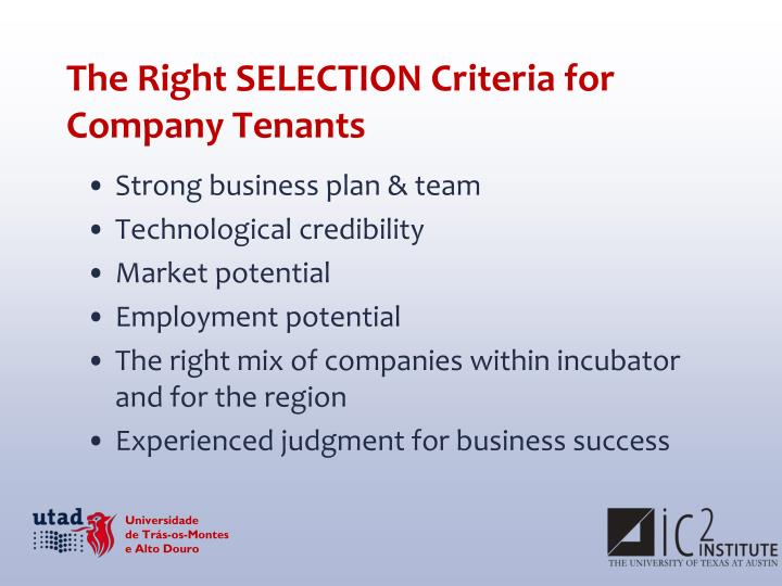 The Right SELECTION Criteria for Company Tenants