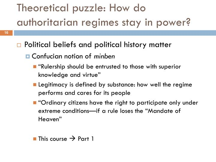 Theoretical puzzle: How do authoritarian regimes stay in power?