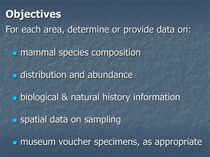 Objectives for each area determine or provide data on