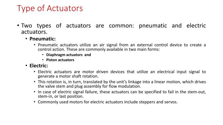 Type of Actuators