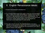 ii english renaissance ideals