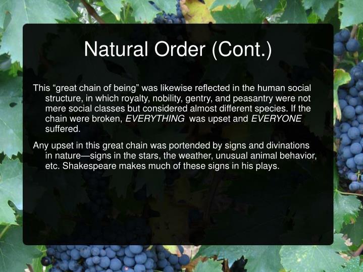 Natural Order (Cont.)
