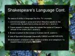 shakespeare s language cont