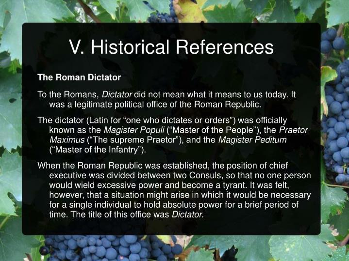 V. Historical References