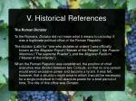 v historical references