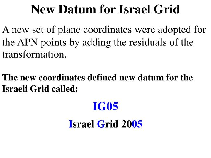 New Datum for Israel Grid