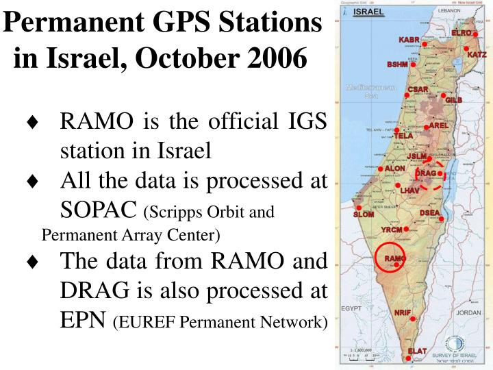 Permanent GPS Stations in Israel, October 2006