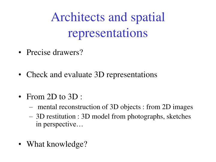 Architects and spatial representations