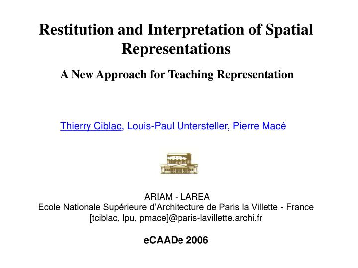 Restitution and Interpretation of Spatial Representations