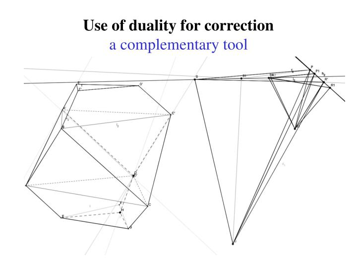 Use of duality for correction