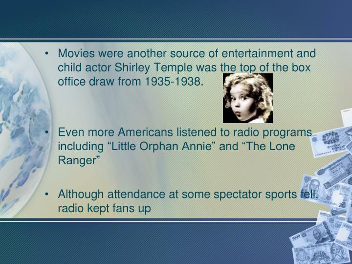 Movies were another source of entertainment and child actor Shirley Temple was the top of the box office draw from 1935-1938.