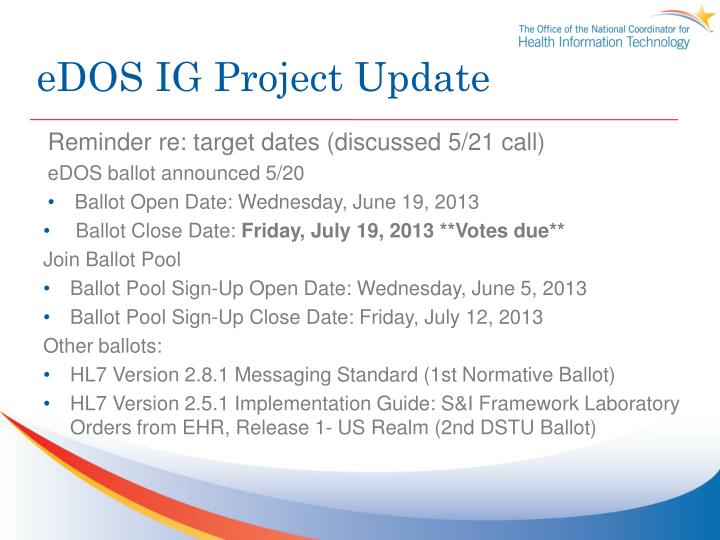 eDOS IG Project Update