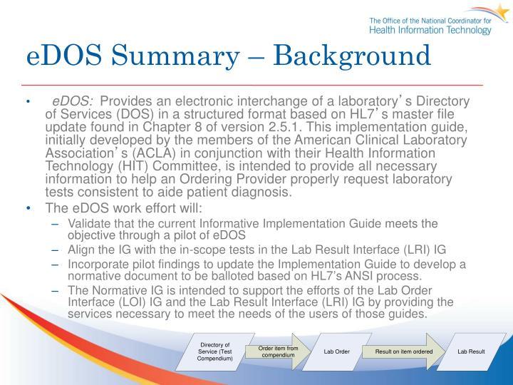 eDOS Summary – Background