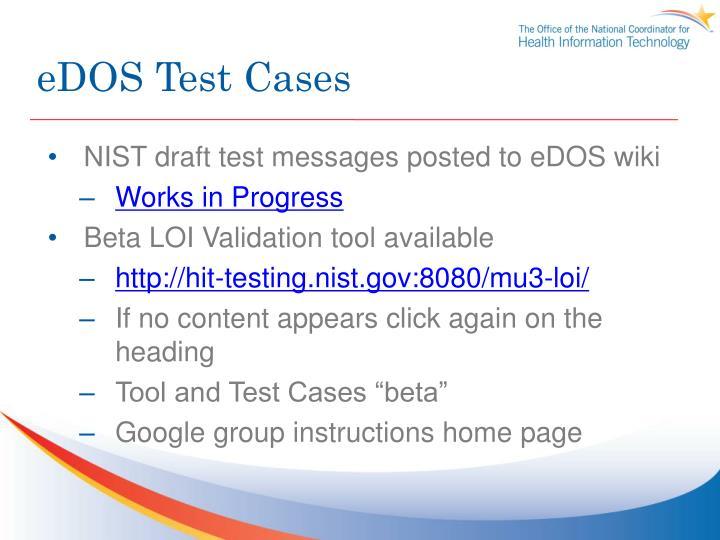 eDOS Test Cases