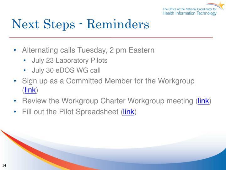 Next Steps - Reminders