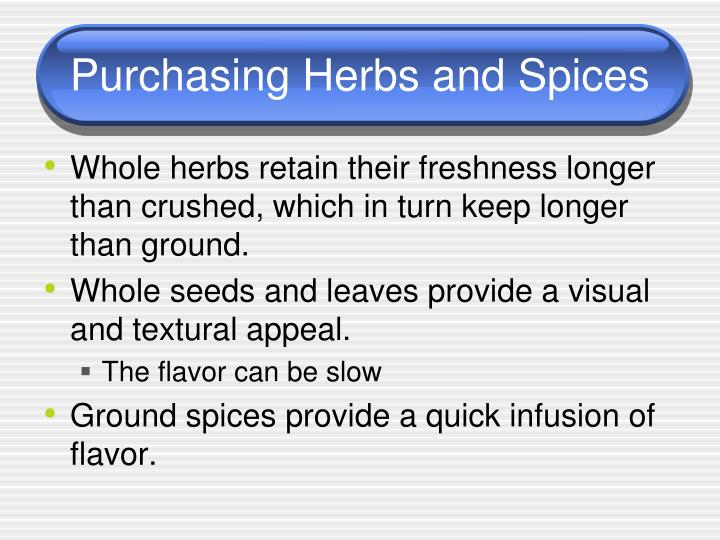 Purchasing Herbs and Spices