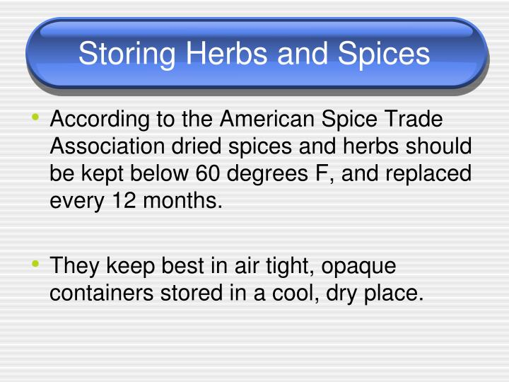 Storing Herbs and Spices
