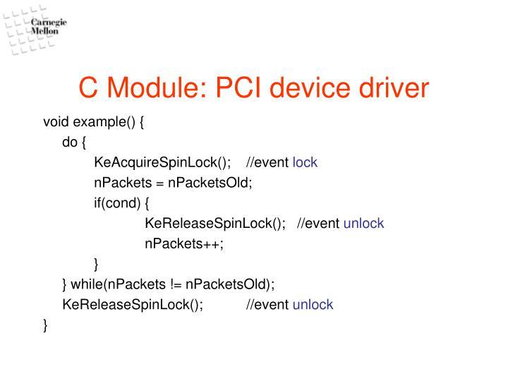 C Module: PCI device driver