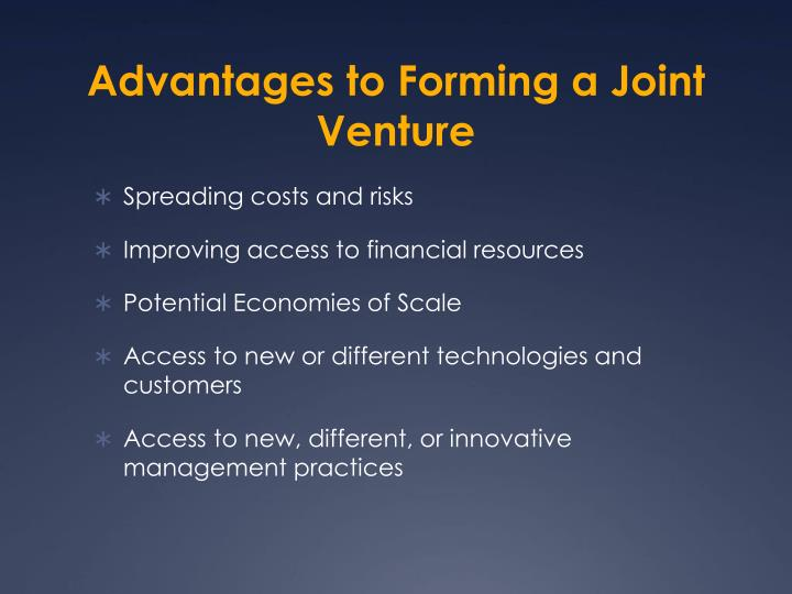 Advantages to Forming a Joint Venture