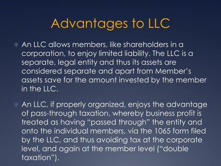 Advantages to LLC
