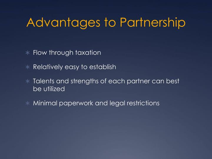 Advantages to Partnership