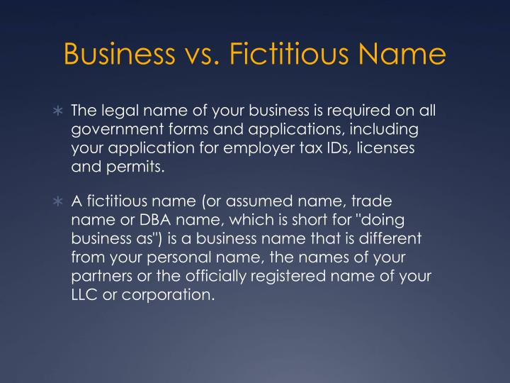 Business vs. Fictitious Name