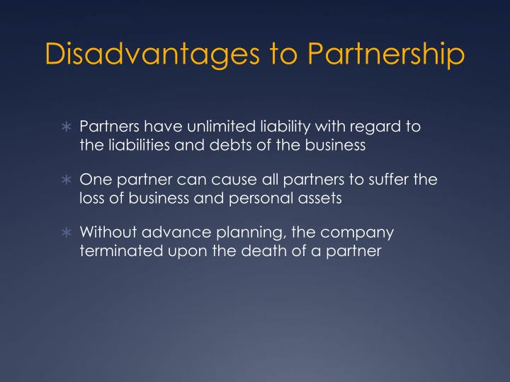 Disadvantages to Partnership