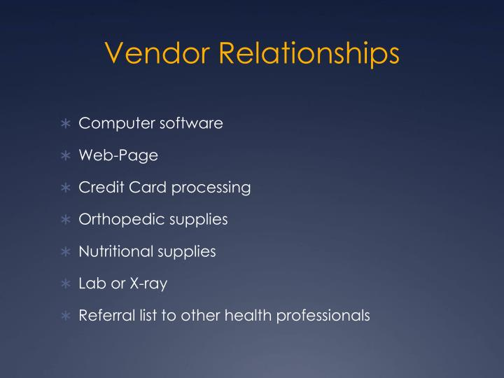 Vendor Relationships