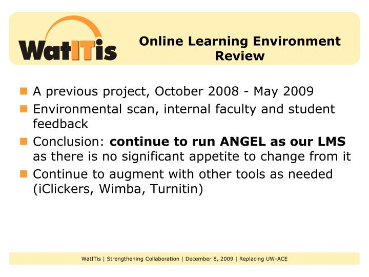 Online Learning Environment Review