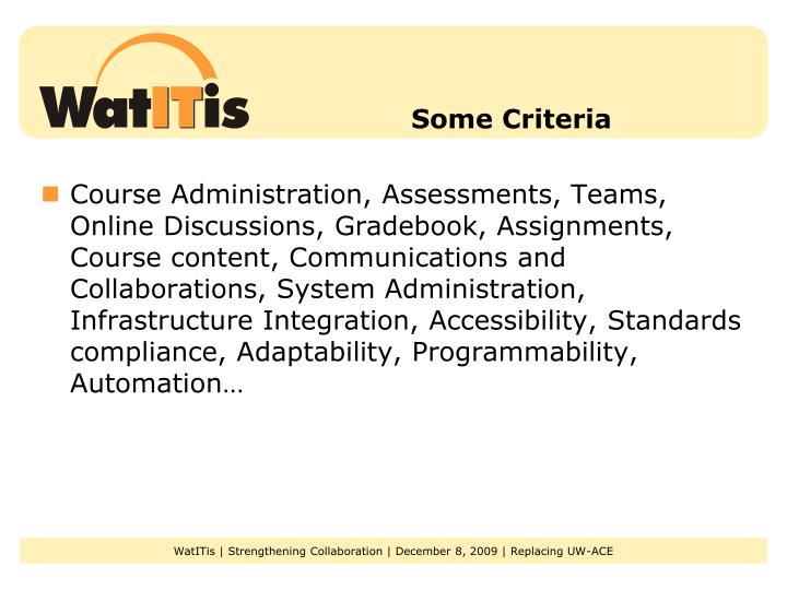 Some Criteria