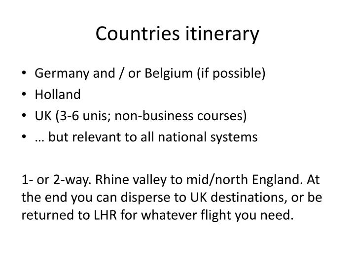Countries itinerary
