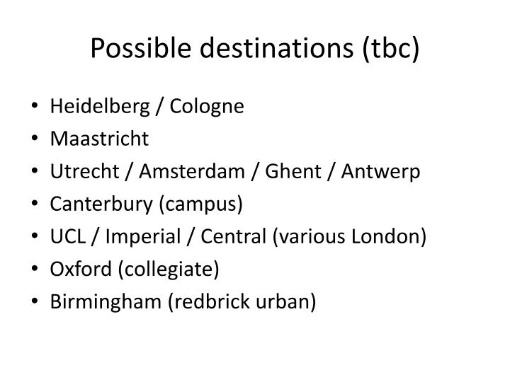 Possible destinations (