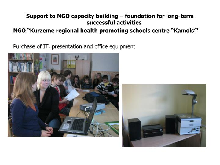 Support to NGO capacity building – foundation for long-term successful activities