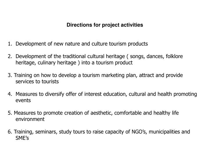 Directions for project activities