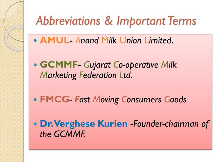 Abbreviations & Important Terms