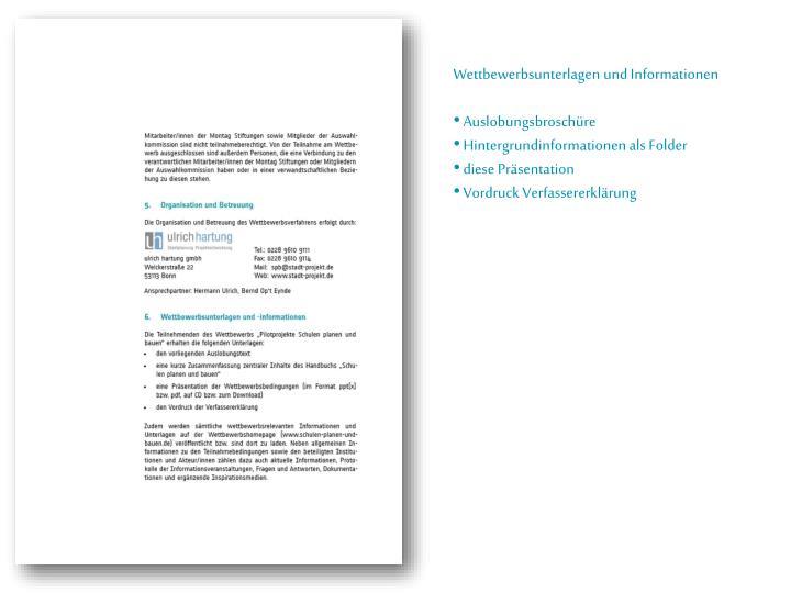 Wettbewerbsunterlagen und Informationen