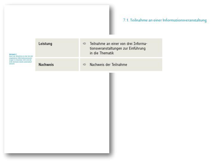 7.1. Teilnahme an einer Informationsveranstaltung