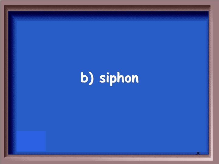 b) siphon