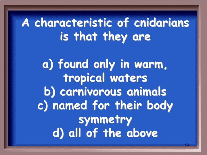 A characteristic of cnidarians is that they are