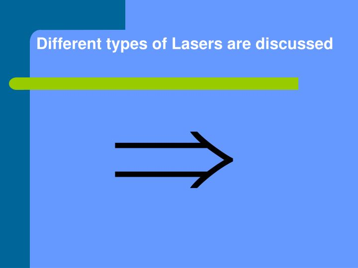 Different types of Lasers are discussed